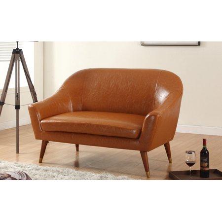Mid Century Modern Bonded Leather Living Room Loveseat