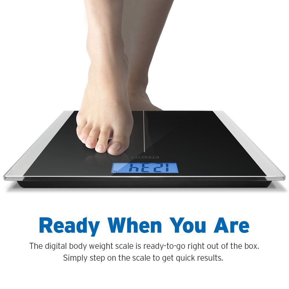 Etekcity Digital Weight Bathroom Scale With Step On Technology 400 Pounds Tape Measure Included Elegant Black Com