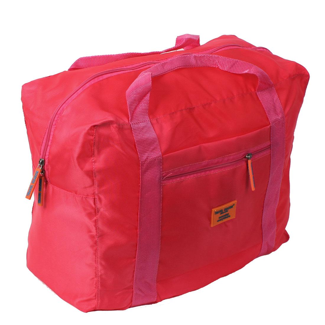 Unique Bargains Nylon Foldable Portable Travel Luggage Clothes Storage Bag Fuchsia
