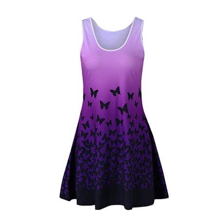 Plus Size Butterfly Print Women Casual Sleeveless Long Shirt Summer Wear