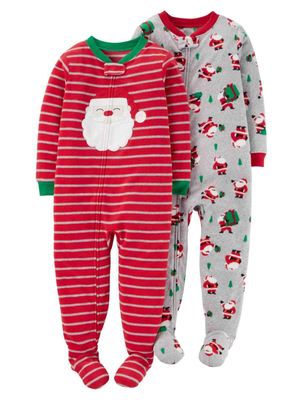 Carters Infant & Toddler Boys Red Santa Fleece Footed Sleeper PJs 2 Pack Set