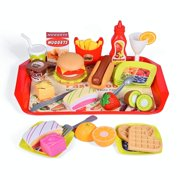 Play Kitchen Sets Pretend Food with Fast Food 40 PCs Play Food Toys Cutting Food Fruits for Kids Pretend Play
