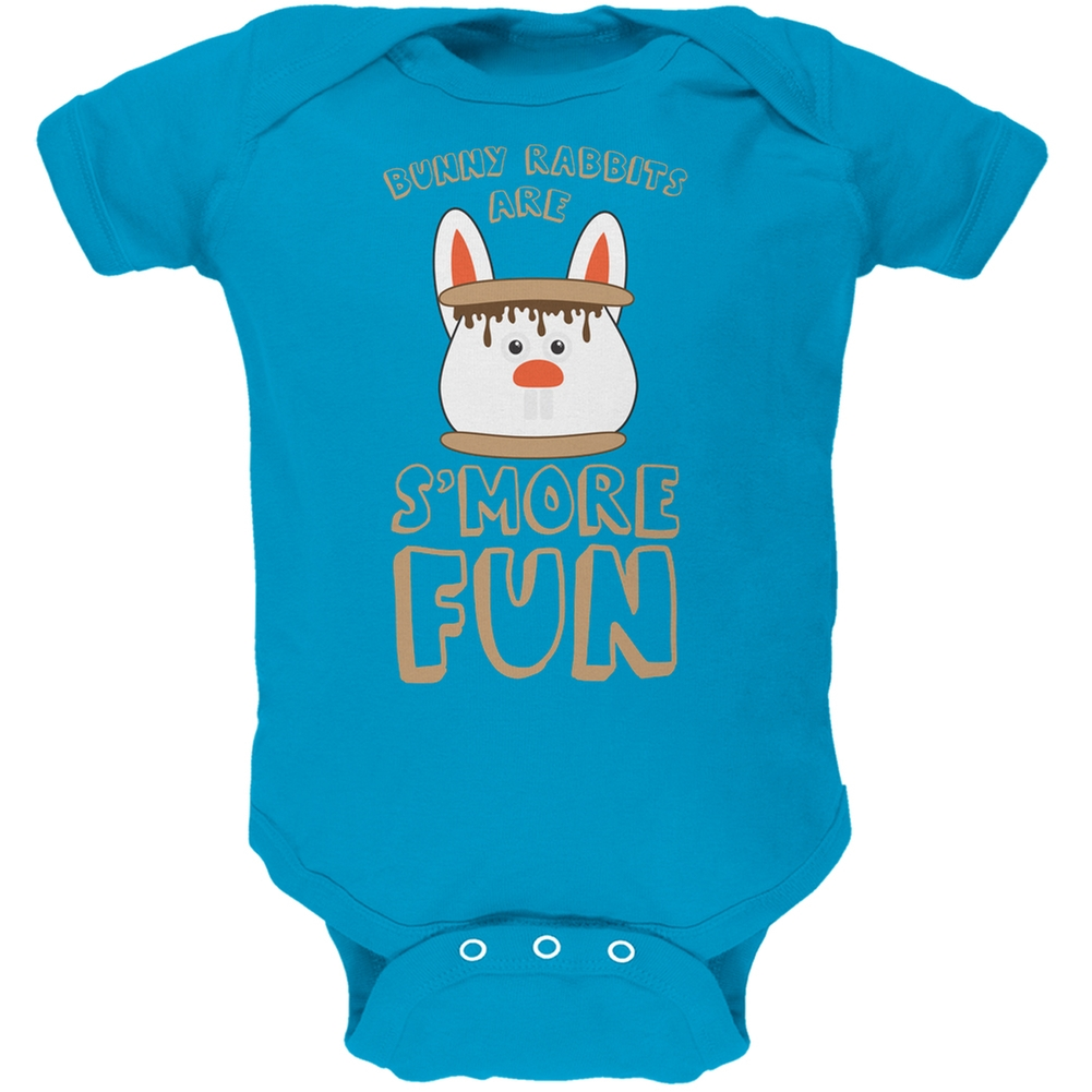 Rabbits Are S'More Fun Turquoise Soft Baby One Piece
