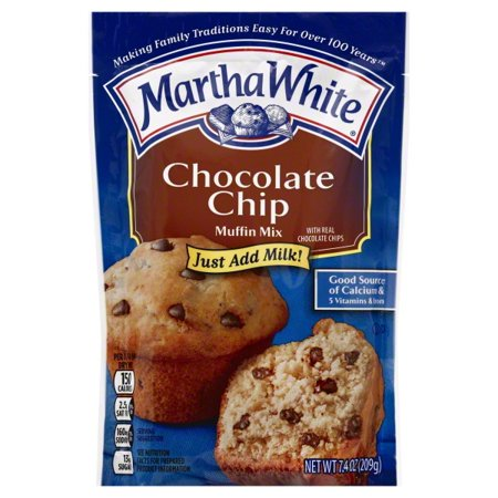 (4 Pack) Martha White Chocolate Chip Muffin Mix, 7.4 oz