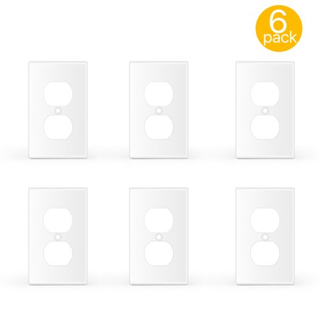 1 Gang Duplex Receptacle Wall Plate, 6 Pack Standard Size Dual Port Electrical Outlet Receptacle Plug Socket Faceplates Cover Replacement, White (Two Gang Duplex Outlet)