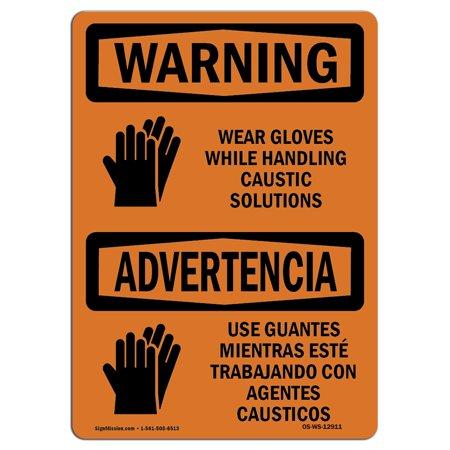 Osha Warning Sign Wear Gloves While Handling With Symbol Choose