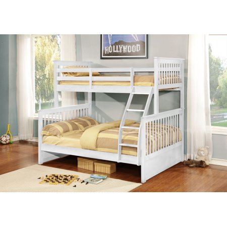 Twin Over Full Size White Finish Wood Slat Bunk Bed (Bunkbed)