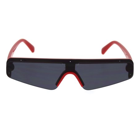- Flat Top Futurism Robotic Disco Narrow Half Rim Plastic Sunglasses Red Black