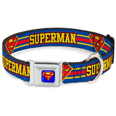 dog collar smc-superman blue - superman shield stripe blue yellow red - pet collar - Superman Pet
