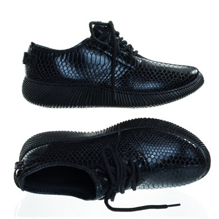 Forward03 by Bamboo, Snakeskin Embossed Prints, Lace Up Sneaker w Ribbed Outsole