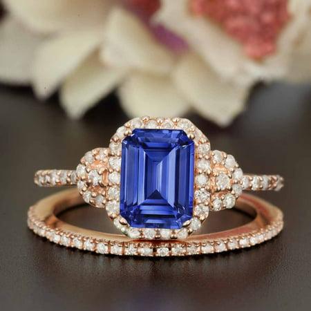 1.50 Carat Emerald Cut Sapphire and Diamond Wedding Ring Set in Rose Gold Dazzling Ring (Dazzling Rock Bridal Sets)