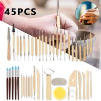 38/42/45pcs Clay Sculpting Tools Pottery Carving Tool Set Wooden Handle Modeling Clay Tools