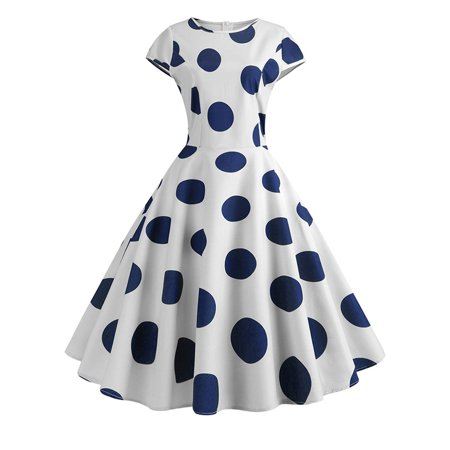 Womens Vintage 1950s Polka Dot Rockabilly Evening Party Prom Gown Swing Dress