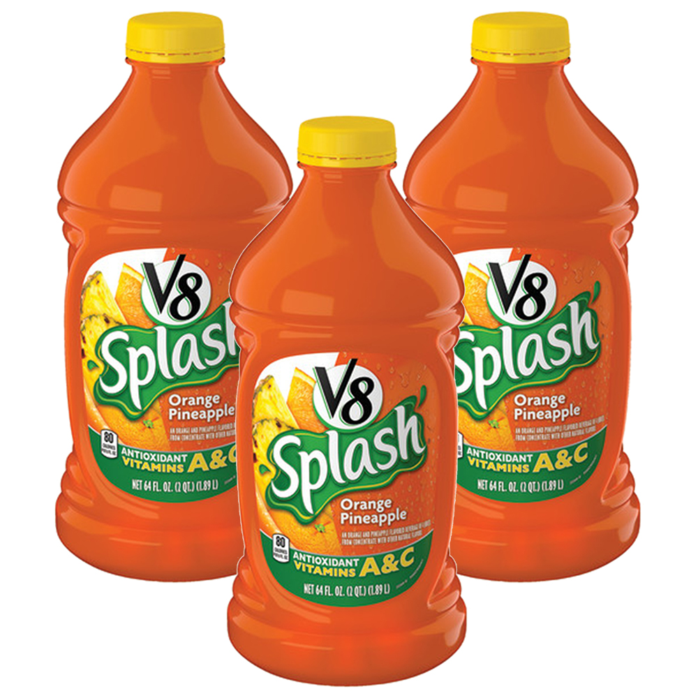 V8 Splash Fruit Juice, Orange Pineapple, 64 Fl Oz (Pack of 3)