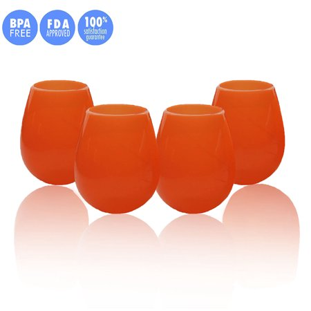 Kuke Set of 4 Unbreakable Silicone Wine Glasses Stemless Collapsible Drinking Cups 9/12 Ounce (Orange-12 oz)