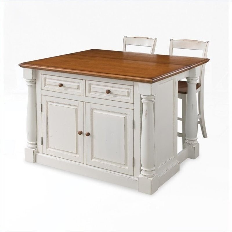 Bowery Hill Kitchen Island with Two Stools in Distressed Oak