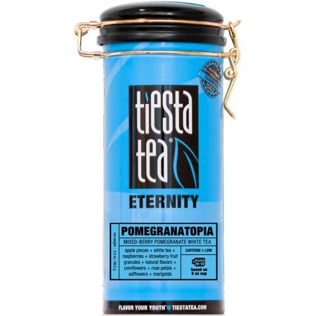 Tea Tin - Tiesta Tea Eternity, Pomegranatopia, Loose Leaf White Tea Blend, Low Caffeine, 3.5 Ounce Tin