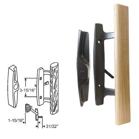 STB Sliding Glass Patio Door Handle Set, Mortise Type, Non-Keyed, Black, 3-15/16