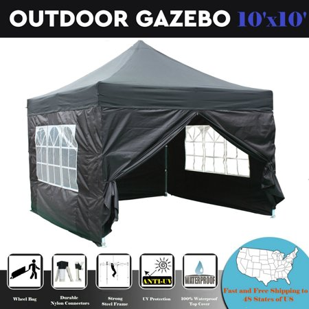 10'x10' Pop up Canopy Wedding Party Tent Gazebo EZ Black -