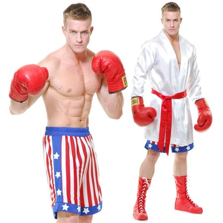 Apollo Halloween Parade (Rocky Balboa Adult Costume American Flag Shorts Robe Movie Apollo Creed USA IV)