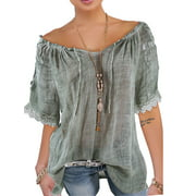 S-5XL Plus Size Loose Casual Top  Women Lace Crochet Short Sleeve Semitransparent Off Shoulder Casual Tops Blouses Daily Wear T-Shirt