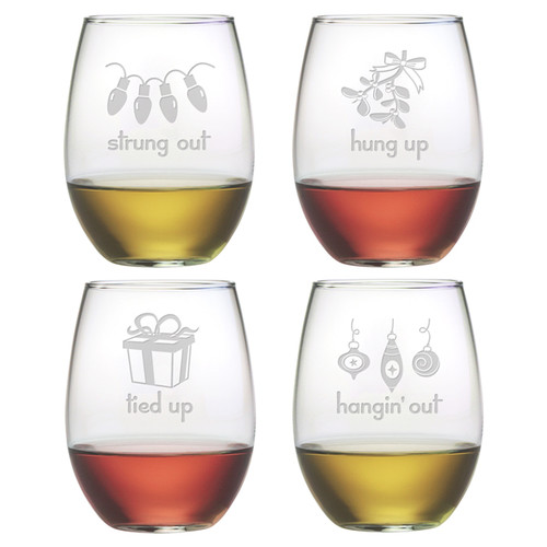 Susquehanna Glass Holiday Hang Ups Stemless Wine Glass (Set of 4)