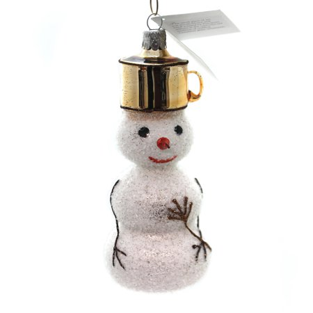 Golden Bell Collection SNOWMAN WITH POT HAT Glass Ornament Carrot Nose Sn226