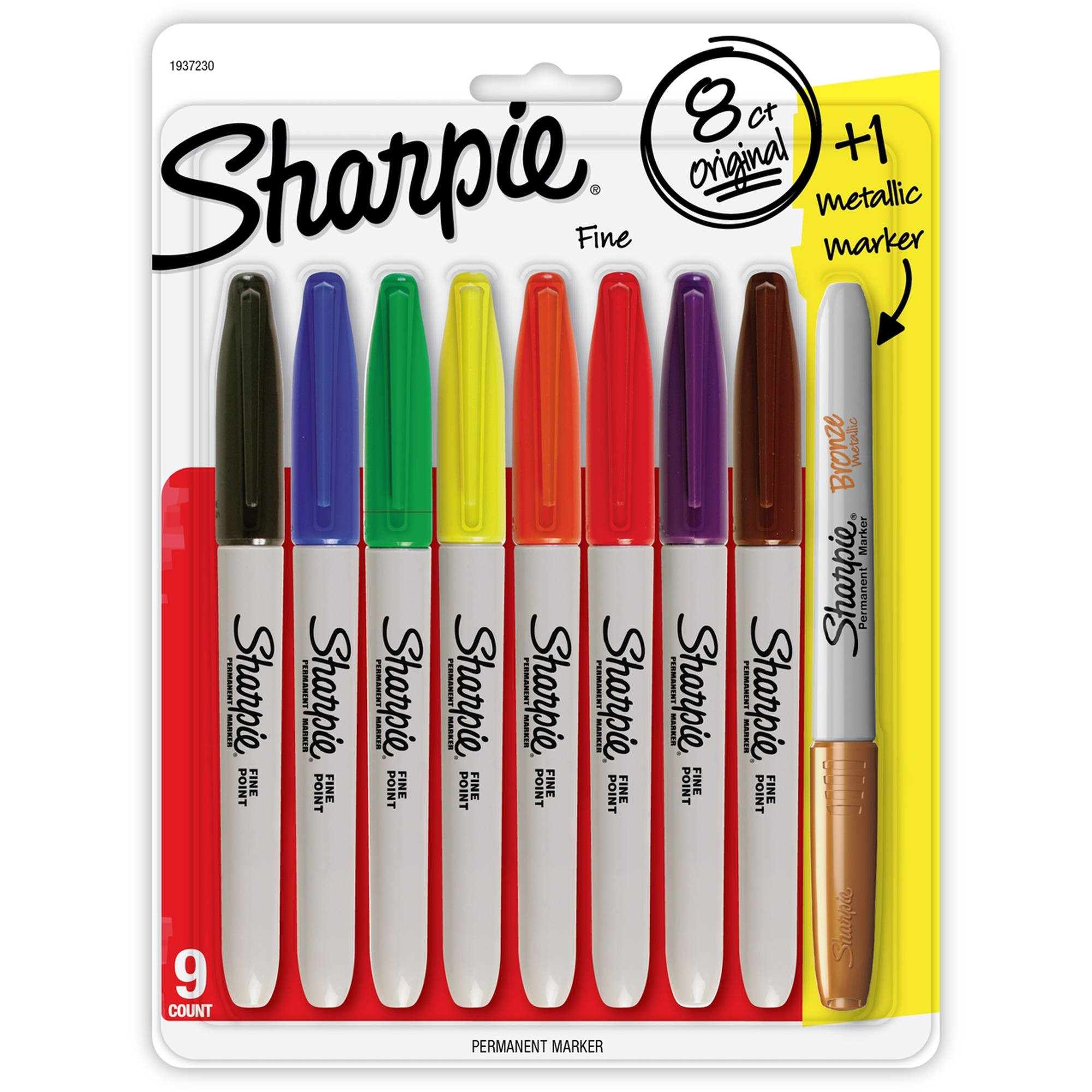 Sharpie Permanent Markers, Fine Point, Assorted Colors and Metallic Bronze, 8 +