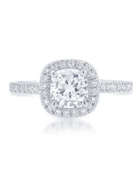 2 Carat Cushion cut Moissanite Solitaire Engagement Ring in White Gold