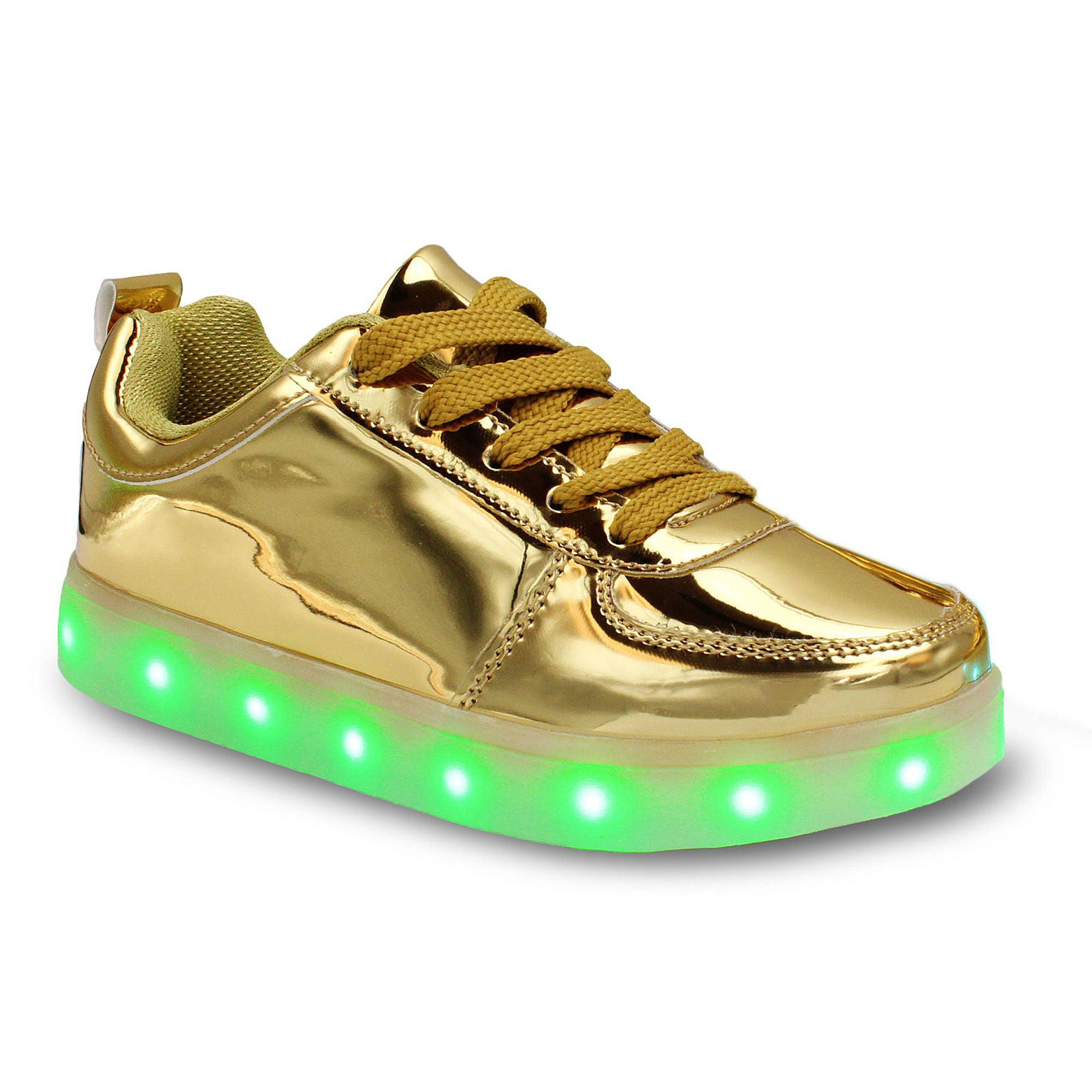led gold shoes