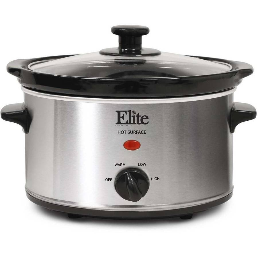 Elite Gourmet MST-275XR 2 Qt Oval Slow Cooker, Red
