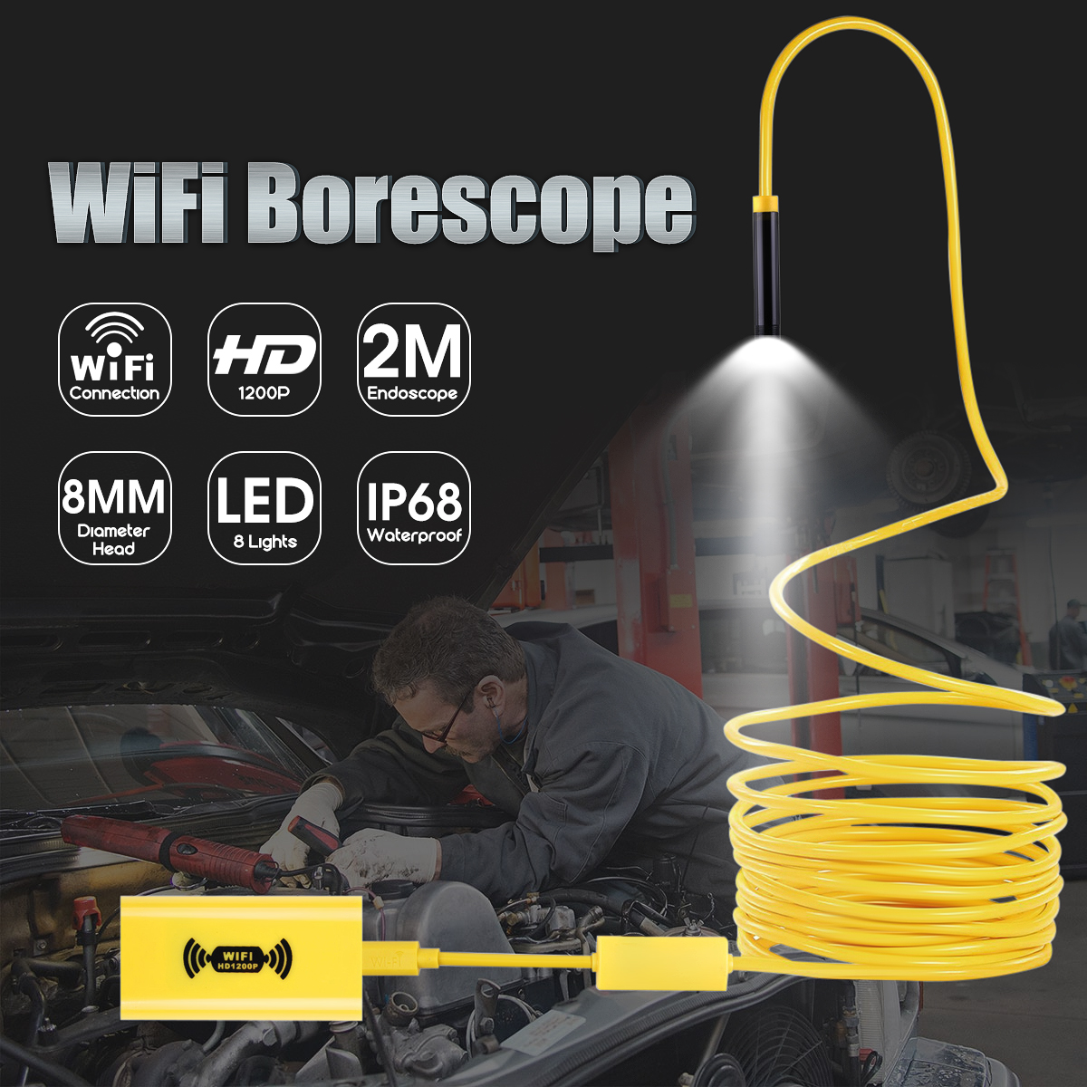 Yellow Wireless Endoscope 8 LED WiFi Borescope Inspection Camera 2MP 1200P Ultra-HD Waterproof Snake Camera for iPhone & Android
