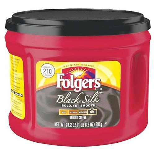 FOLGERS 2.55002054E9 Coffee,Black Silk,24.2 oz. G1584731