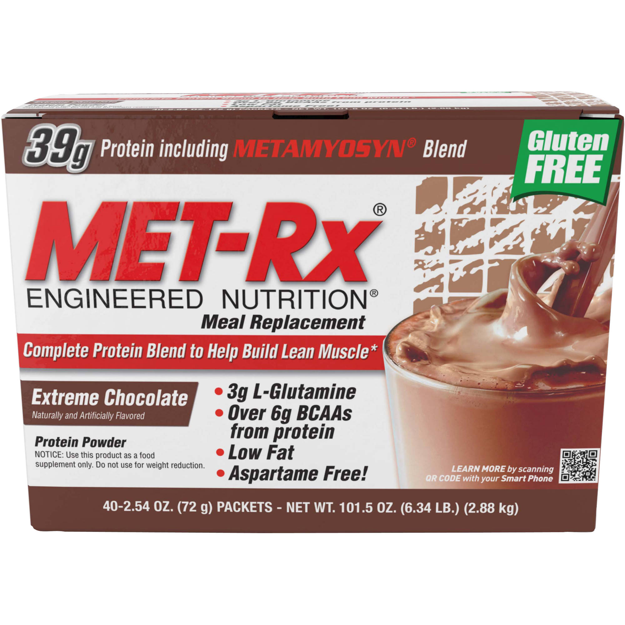 MET-Rx Meal Replacement Extreme Chocolate Protein Powder, 2.54 oz, 40 count