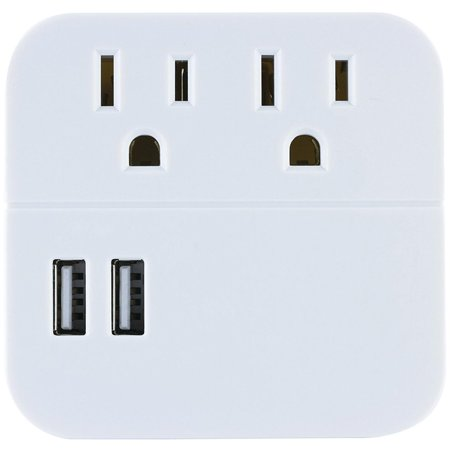 GE Pro 2-Outlet, 2-Port USB Surge Protector Wall Adapter, White, 37144