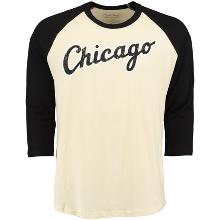 meet 7ebc8 91d93 Chicago White Sox Majestic Threads Softhand Vintage Cooperstown  Three-Quarter Raglan Sleeve T-Shirt - Cream/Black