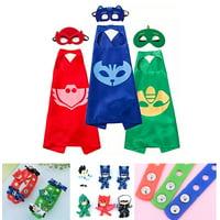 Party Pretend Dress Up for PJ Masks Costumes - 3 Mask, 3 Capes and 3 Bracelets for Catboy Owlette Gekko