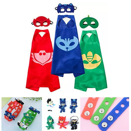 Easy To Make Costumes For Kids (Party Pretend Dress Up for PJ Masks Costumes - 3 Mask, 3 Capes and 3 Bracelets for Catboy Owlette)