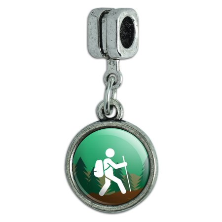 Hiker Hiking Symbol Mountain Nature Italian European Style Bracelet Charm Bead