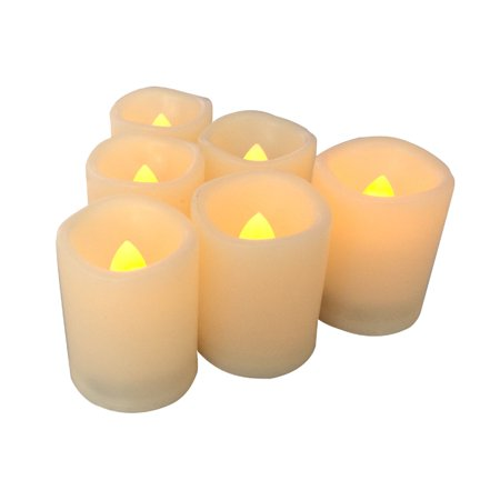 Flameless LED Battery Operated Votive Candles Bright Flickering Electric Fake Decorative Lights Bulk Christmas Party Wedding Décor Decorations Unscented Set of 12 Long Lasting Batteries Included](Bulk Flameless Tea Lights)