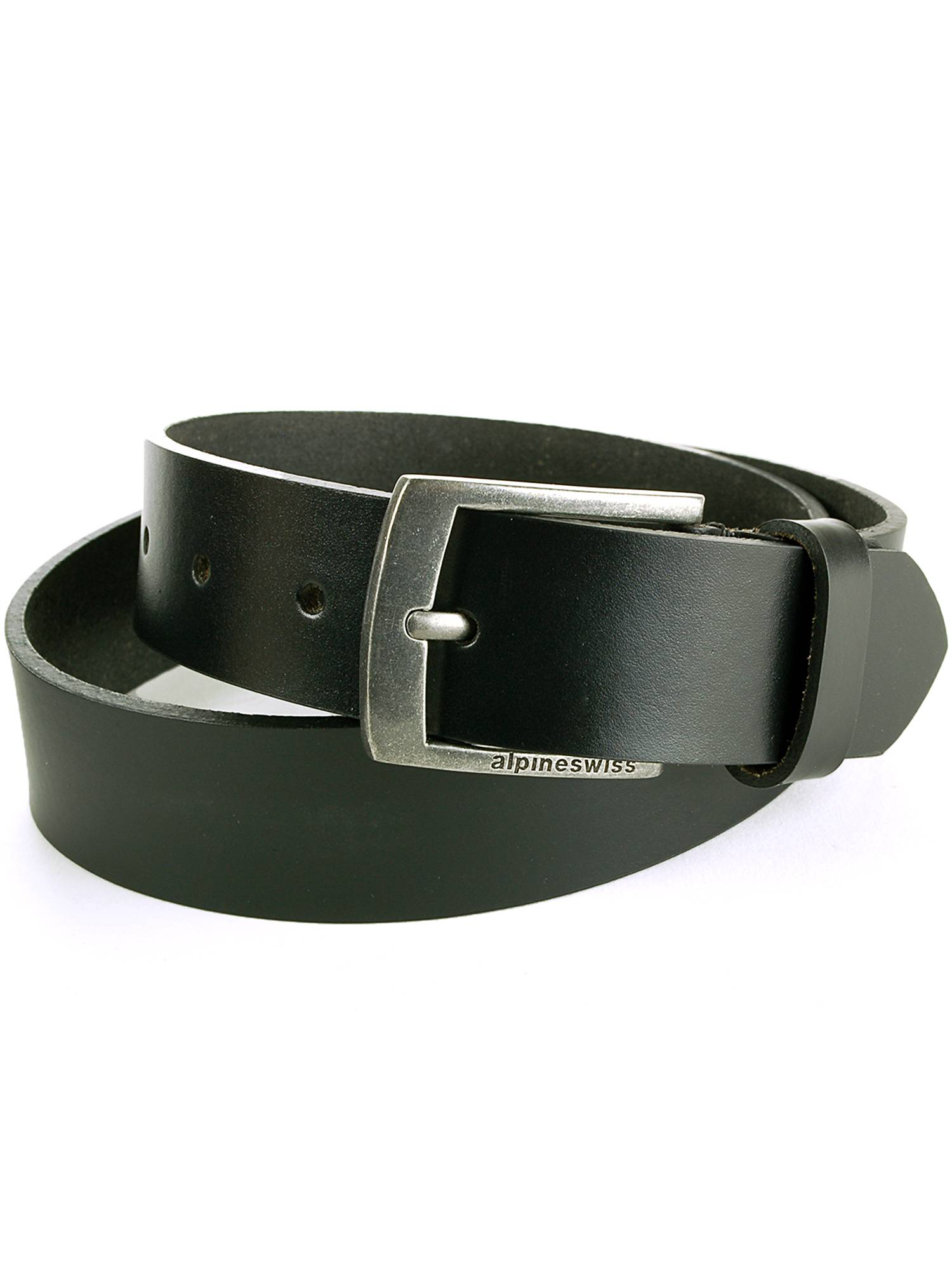 "Alpine Swiss Men's Leather Belt Slim 1 1/4"" Casual Jean Dakota Signature..."