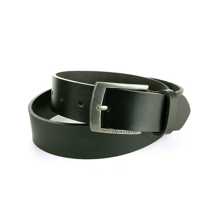 "Black Leather Plaque Buckle Belt - Alpine Swiss Mens Leather Belt Slim 1 1/4"" Casual Jean Dakota Signature Buckle"
