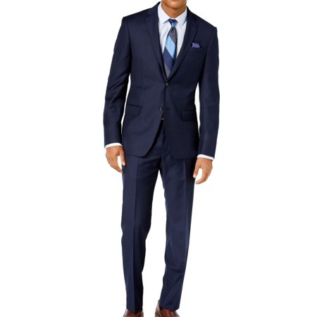 DKNY NEW Navy Blue Mens Size 40 Notch-Collar Two Button Wool Suit Mens Navy Pinstripe Wool Suit