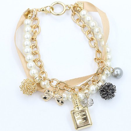 VENSE Girls perfume bottle decorative jewelry pearl ribbon bow crystal bracelet - image 3 of 4