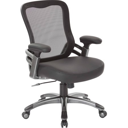 Office Star Mesh Back Managers Chair With Mesh Seat Adjustable Faux Leather