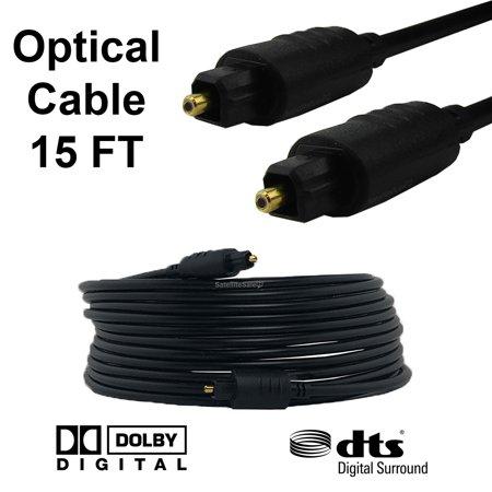 15FT Premium Digital Audio Optical Optic Fiber Cable Toslink SPDIF Cord 15 ft HD (Fiber Optic Tv Cable)