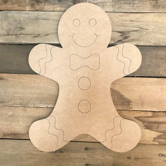 12 Gingerbread Man Unfinished Wooden Craft Paint By Line