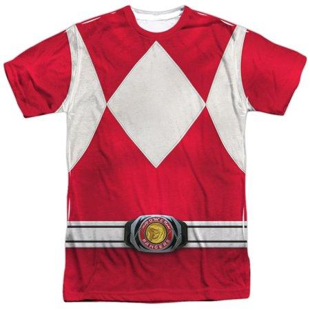 Power Rangers Men's  Red Ranger  Sublimation T-shirt White