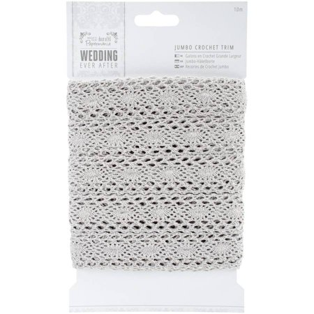 Papermania Ever After Wedding Crochet Trim, 10m, Silver, 36mm