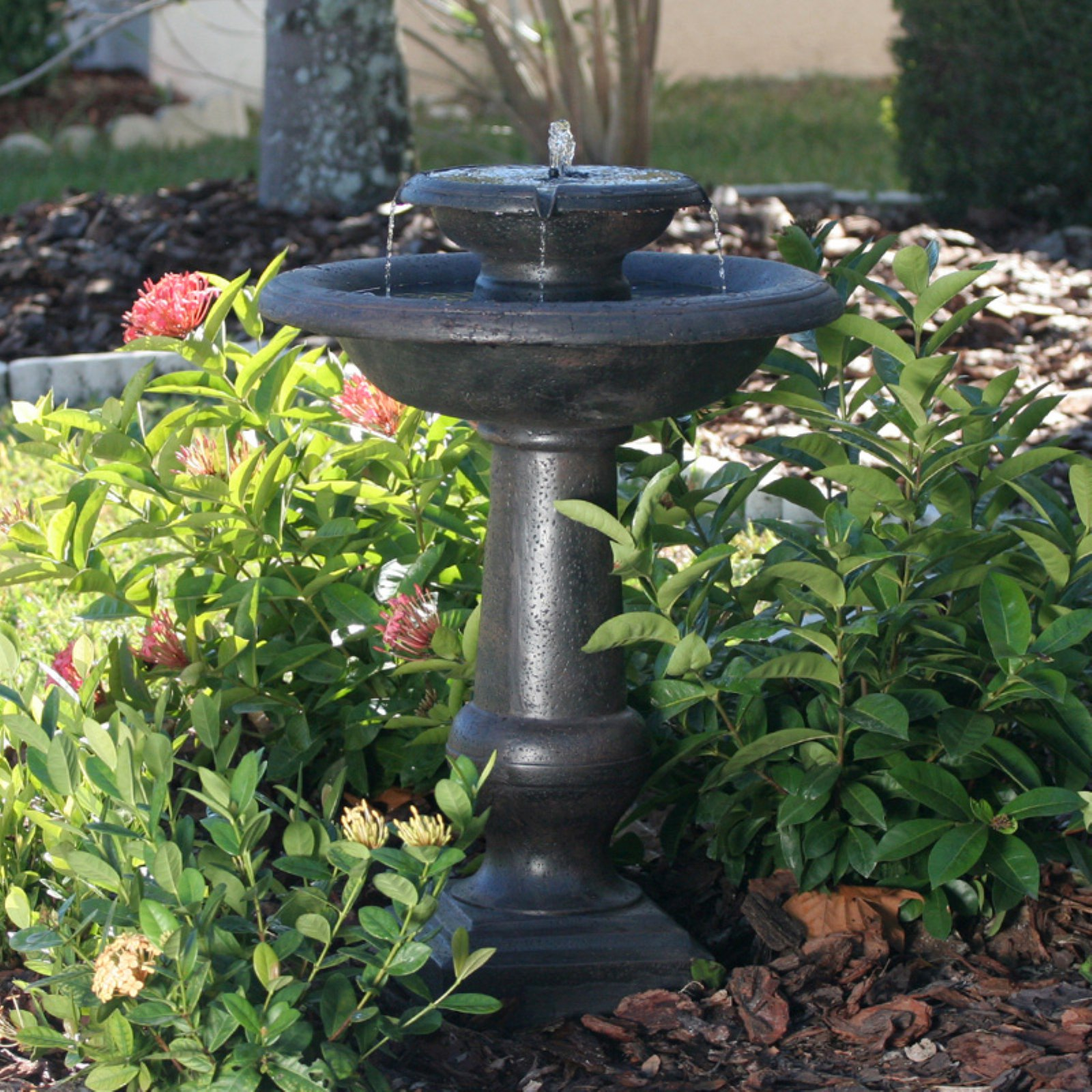 Smart Solar Chatsworth 2-Tier Solar-On-Demand Outdoor Fountain by